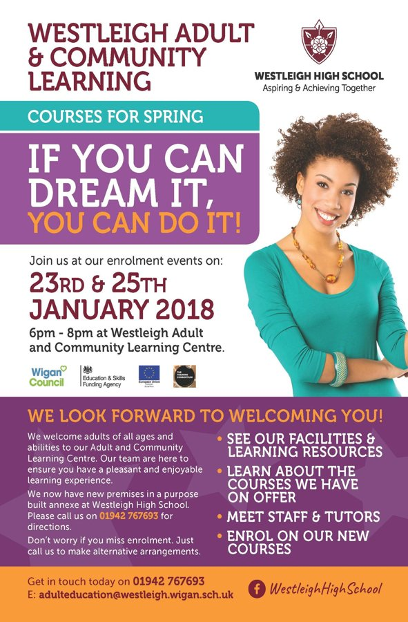 Adult Education Flyer Jan 18 The Westleigh School