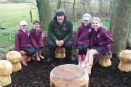 The School Council have been raising money for some time to renew the wooden toadstool seats for our outdoor Worship Area.