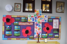 Children from both key stages worked together to produce artwork for this Rememberance display