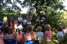 Rev. Gary and our Chair of Governors Mrs Sutcliffe joined us for worship in the sunshine.