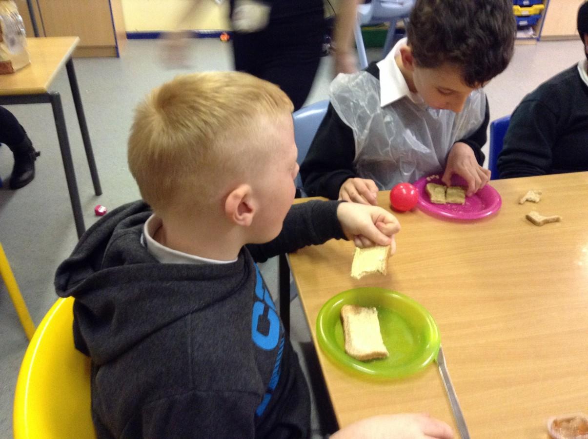 Cake Making Classes Lancashire : Pink Class Making Toast Woodlands School